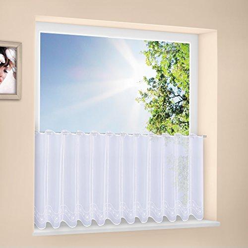 Tenda della finestra Fiore su onda altezza 30 cm | Può scegliere la larghezza in segmenti da 16 cm, come vuole | Colore: Bianco | Tendine cucina