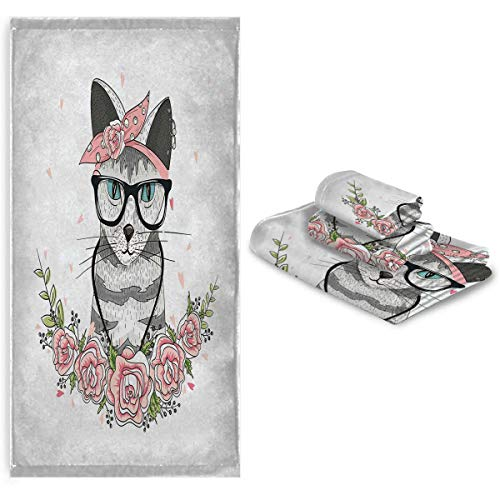 Kitten Children's Bath towelsEasy to Dry Absorb Water Hipster Cool Cat with Spectacles Scarf Necklace Earrings and Flowers Little Hearts Set Multicolor