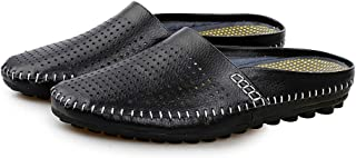 AUCDK Men Flip Flops Leather Mules Sandals Breathable Flat Sandals Fisherman Slipper Casual Beach Slipper