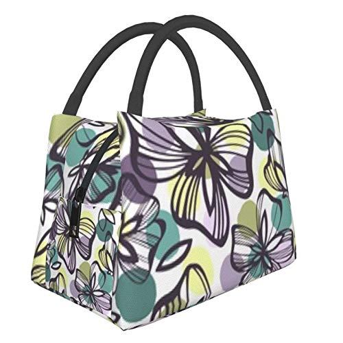 Bolsa de almuerzo portátil con aislamiento Cool (Pattern Flowers On Polka) 8.5L