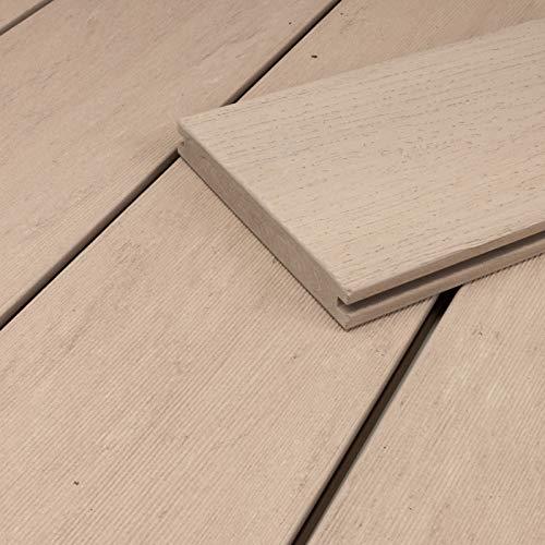 HORI® WPC-Terrassendiele Exclusive Line beige weiß Hohlkammer I Komplettset inkl. 40x60 mm Unterkonstruktion & Clips I Fläche: 1 Muster I Muster Dielenlänge