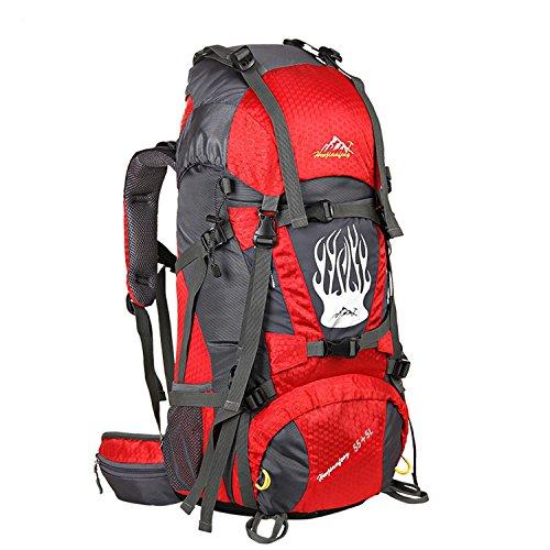 55+5L sac à dos Randon née interne sac d'alpinisme multifonction nylon imperméable à l'eau sacs à dos légers pour l'alpinisme voyage d'escalade et autres sports de plein air H75 x L37 x T24CM , red