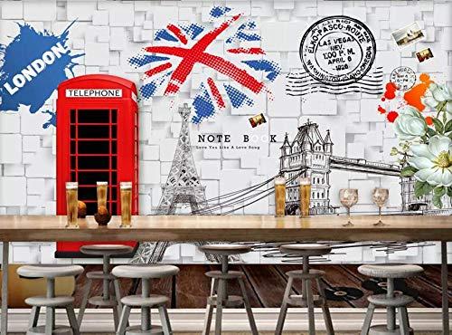 MUNXIN Wallpaper Papel Pintado 3D Cafetería De La Barra De La Cabina Del Teléfono Rojo Papel Pintado Pared Moderno Dormitorio Fotomurales Decorativos Pared