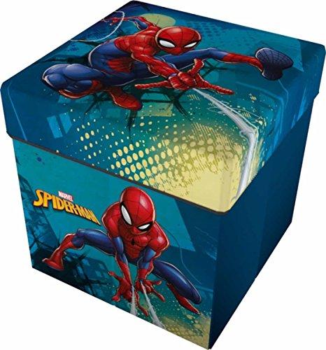 Star Licensing 46731 Disney Spiderman Pouf Contenitore, Poliestere, Multicolore, 32 x 32 x 32 cm