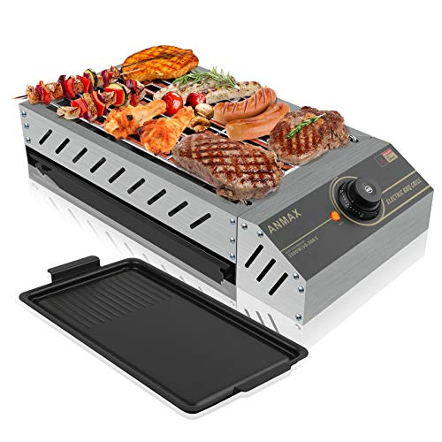 Portable Electric BBQ Grill, Full Stainless Steel Body, Smokeless Outdoor Indoor Grill, Removable Non-stick Plate, Adjustable Temperature and Extra-Large Drip Tray, 2500W.