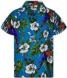 King Kameha Funky Casual Camisa hawaiana para hombre, bolsillo delantero, con botones, manga corta, unisex, estampado de loro cereza -  Multi -  6X-Large