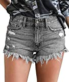 onlypuff Jean Shorts for Women Mid Rise Elastic Waist Denim Shorts Boyfriend Stretchy Jeans M
