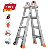 TACKLIFE Telescoping Ladder, 17ft Extension Ladder with Protective Lock and Two Wheels, Non-Slip Foot Pad and 300lb Max Duty, Suitable for Home/Working