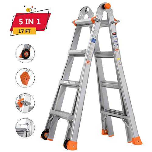 TACKLIFE Telescoping Ladder 17ft Extension Ladder with Protective Lock and Two Wheels NonSlip Foot Pad and 300lb Max Duty Suitable for Home/Working