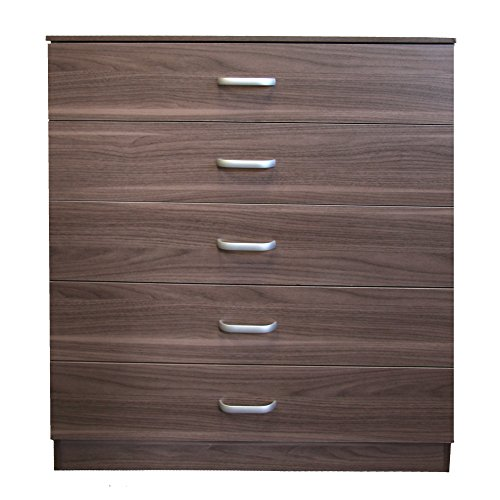 Redstone Chest of 5 Drawers with Anti-Bowing Support (Dark Walnut)