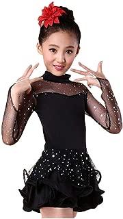 Girls Sequin Dance Costume Latin Rumba Dance Dress Ballroom Dancewear