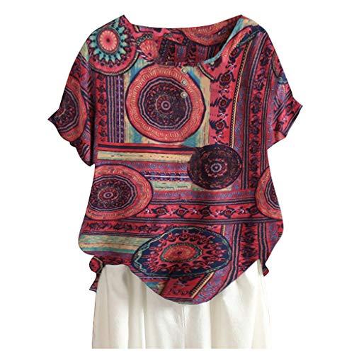 Kanpola Leinenbluse Damen Sommer Kurzarm T-Shirt Vintage Druck Oversize Shirt GroßE GrößE Oberteile Freizeit Atmungsaktiv Top