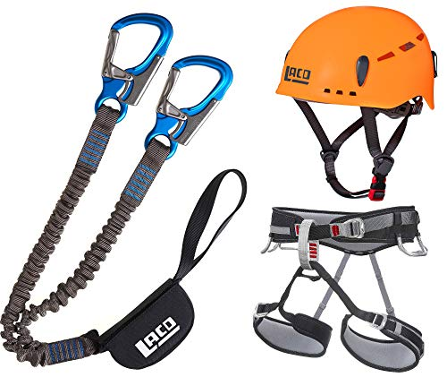 LACD Klettersteigset Pro + Klettergurt Start Größe M + Helm Protector 2.0 neon orange