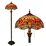 WERTY Tiffany Styled Floor Lamp, Traditional Stained Glass Reading Lamp Shade, Art Deco Standard Night Light for Living Room Moden