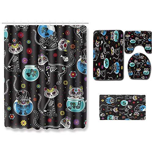 HMQQ Douchegordijnmat, 5-delige set, douchegordijn, antislipmat, PVC douchemat, contour, tapijt, wc-brilmat, kleur naar keuze yxj,B