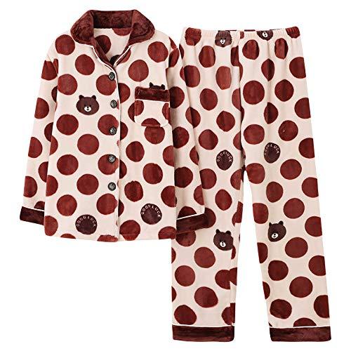 ZJMIYJ Pijamas De Mujer,Invierno Caliente Franela Mujeres Jóvenes Oso Pijama Pijama Señora Pajama Sets Punto De Dibujos Animados Coral Vello Pijama Pijamas Traje Casero,L