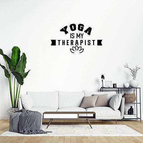 Calcomanía de pared extraíble Yoga is My Therapist para decoración del hogar para dormitorio, aula, sala de estar, oficina