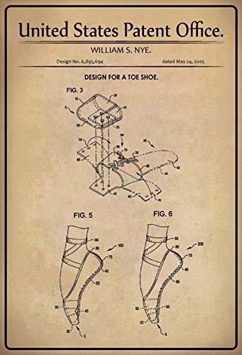 Generisch Cartel De Chapa Con Diseño De Zapatillas De Balet Nye (20 X 30 Cm)