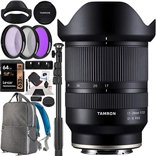 Tamron 17-28mm F/2.8 Di III RXD Full Frame E-Mount Lens (A046) for Sony Mirrorless Cameras Bundle with Deco Gear Photography Backpack Case + 67mm Filter Kit + 64GB Card + Monopod + Accessories