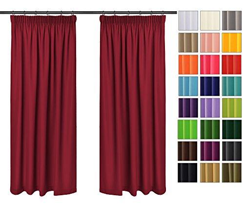 Rollmayer Vorhänge mit Bleistift Kollektion Vivid (Weinrot 13, 135x260 cm - BxH) Blickdicht Uni einfarbig Gardinen Schal für Schlafzimmer Kinderzimmer Wohnzimmer