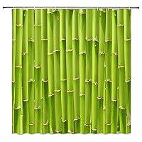 グリーンバンブーシャワーカーテンピンクロータスフラワーグリーンリーフフィッシュ3Dプリントバスルームホームデコレーションポリエステルクロスカーテン生地シャワーカーテン180x200cm