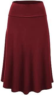 Maxi Skirts for Women Solid Flare Hem High Waist Midi Skirt Sexy Pleated Skirt