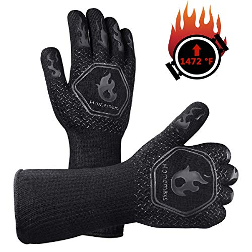 Homemaxs BBQ Gloves 1472℉ Extreme Heat Resistant Grill Gloves, Food...