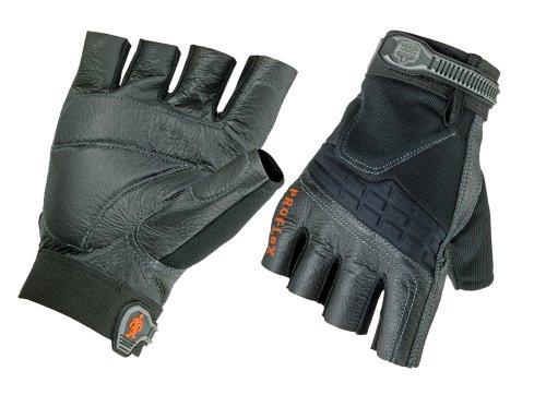 Ergodyne ProFlex 900 Impact-Reducing Half-Fingered Work Gloves, Large