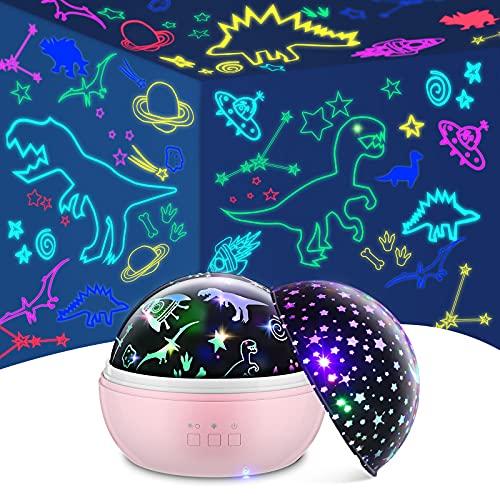 TELLSOKY Regalos Niñas 3-12 Años, Proyector de Estrellas Regalos para Niños de 1 2 3 4 5 6 7 8 9 Años Proyector Estrellas Bebe 2-11 Años Juguetes Niña Proyector Estrellas Techo Adultos(Rosa)