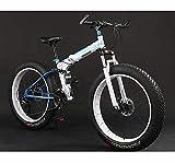 GASLIKE Bicicleta Plegable de Bicicleta de montaña, Bicicletas de MTB de Doble suspensión Fat Tire, Cuadro de Acero con Alto Contenido de Carbono, Freno de Doble Disco,C,26 Inches 24 Speed