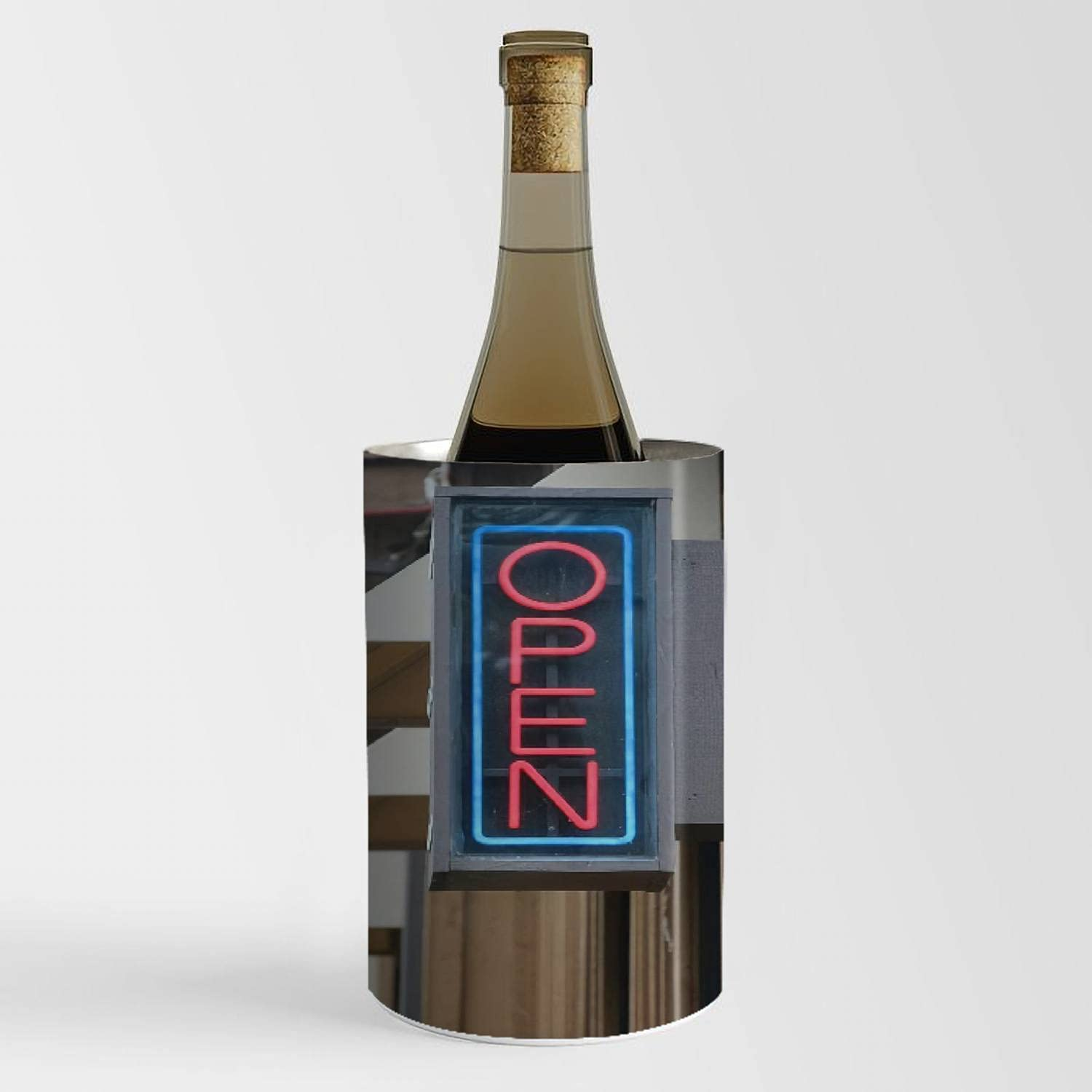 Wine Fort Worth Mall Chiller Bucket - Neon Open Fort Worth Mall Sign for Cooler 750ml Champagne