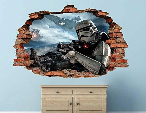 Wandtattoo Planet Stormtrooper Aktion Wandtattoo Kinder zerschlagen 3D-Aufkleber Kunst Vinyl 50 * 70cm