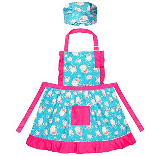 PASHOP Kids Apron with Chef Hat Toddles Kids Art Apron with Center Pocket for Girls Boys Cooking Baking Painting Gardening Artist Aprons Adjustable Neck Strap
