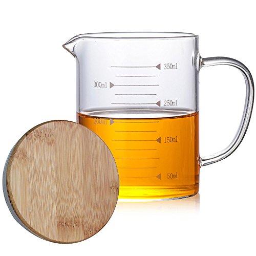 TAMUME Tasse à Mesurer en Verre pour la Cuisson, avec Couvercle en Bambou, Pichet à Mesurer pour la Cuisine (350ml)