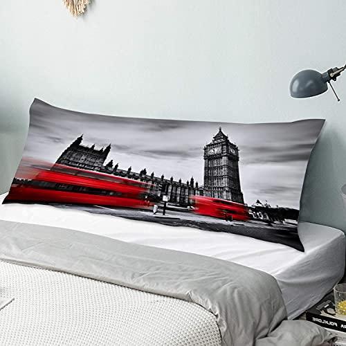 Personalizado Funda de Almohada Larga,Autobuses Que Pasan por el Big Ben Inglaterra Cityscape Londres Landmark Modern,Funda de Almohada para el Cuerpo con Cremallera Sofá para Dormitorio,54' x 20'