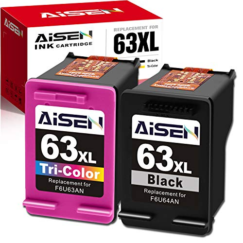AISEN Remanufactured HP Ink Cartridge 63 Replacement for HP 63XL 63 XL Used in Officejet 3830 5255 5258 4650 5230 Envy 4520 4512 4513 DeskJet 1112 1110 3630 3632 2130 2132 (1 Black 1 Tri-Color)