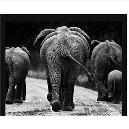 Wuyii Gepersonaliseerd fotobehang, 3D-fotografie, zwart en wit, olifant, Afrikaanse dierenfotografie 280 x 200 cm