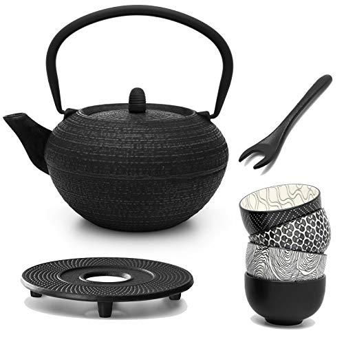 Bredemeijer Tetera redonda de hierro fundido de 1,2 litros, incluye filtro de porcelana, 4 tazas de té de hierro fundido y elevador de tapa, color negro