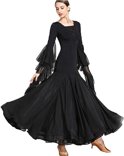 FADA Jupe de Danse Moderne, col voitureré, Manches Longues, Grande Robe for Femme Adulte, Costume de Danse de scène (Couleur   noir, Taille   M)