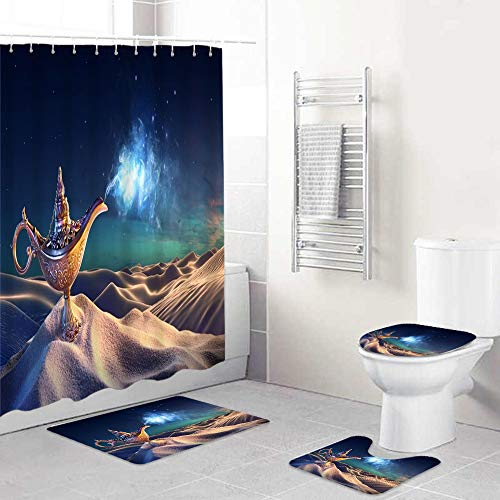 LONSANT Cortina De Ducha Conjunto con De La Manta,Lámpara del Genio de Aladino en el Desierto Linterna mágica Humo Deseo de fantasía Suerte misteriosa Mitología Noches árabes Cuento de Hadas