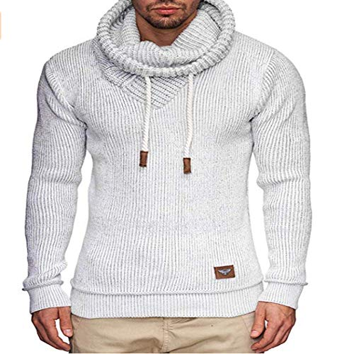 2019 Male Long Sleeve Solid Color Hooded Mens Sweater Men Fashion White