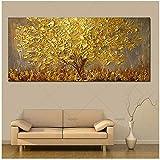 Handgemalte Messer Gold Baum Ölgemälde Auf Leinwand Große Palette 3D Gemälde Für Wohnzimmer Moderne Abstrakte Wandkunst Bilder-50x150 cm Kein Rahmen