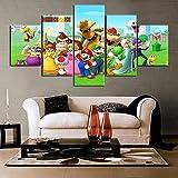 WEIGENG Impresiones en Lienzo, 5 Piezas de póster de Juego de Super Mario, Pintura Decorativa Moderna para habitación Infantil, Imagen Modular, Obra de Arte