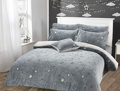 Habigail Thermal Glow in The Dark Stars Snuggle Fleece Duvet Cover and Pillowcase Kids Silver Grey Warm Cosy Bedding Bed Set Single or Double (Grey Stars, Single (135cm x 200cm))