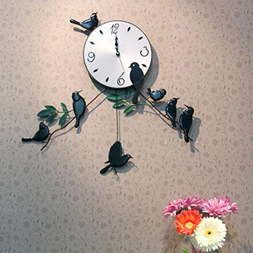 horloge murale CivilWeaEU- Mode Idyllique Oiseaux Créatifs Silencieuse Horloge Personnalisée Art Salon Montres Et Horloges Chambre Liée À La Table