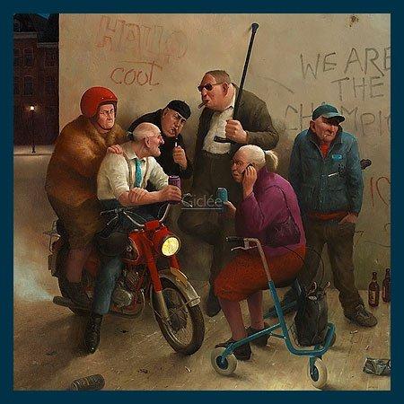 Bild mit Rahmen Marius van Dokkum - Second Youth - Holz blau, 30 x 30cm - Premiumqualität - , Karikatur, Senioren, Alt-Rocker, Motorrad, Rollator, Graffiti, cool, lustig, komisch, Wo.. - MADE IN GERMANY - ART-GALERIE-SHOPde