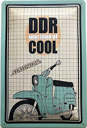 Deko7 blikken bord 30 x 20 cm DDR was kind of COOL Schwalba motorfiets