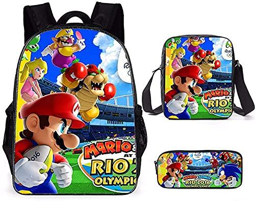 Super Mario - Zaino per la scuola, per bambini, motivo: Cartoon Super Mario, impermeabile, A07, 40 x 30 x 15 cm,