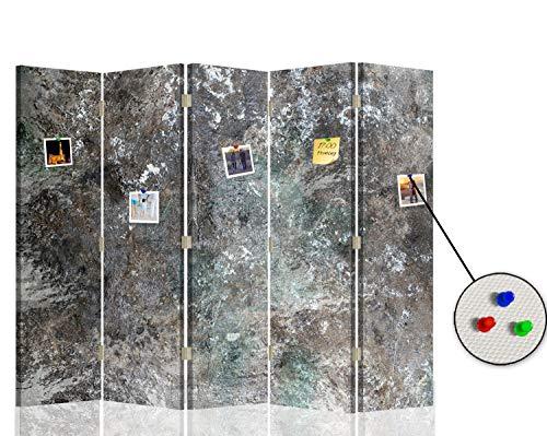F FEEBY WALL DECOR Trennwand Raumtrenner Abstrakt Pinnwand 5-teilig beidseitig Marmor Grau 180x175 cm