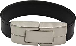 Yghfd USB Flash Drive 64GB Leather Metal Key Ring Pendrive 32GB 16GB 8GB 4GB USB2.0 Wristband (Capacity : 16GB, Color : Bl...
